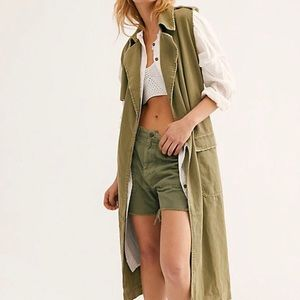 NWT Free People Long Distressed Vest